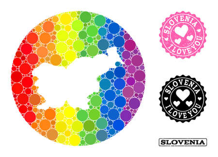 Vector mosaic LGBT map of Slovenia of round elements, and Love rubber seal stamp. Hole round map of Slovenia collage composed with circles in variable sizes, and rainbow multicolored shades.