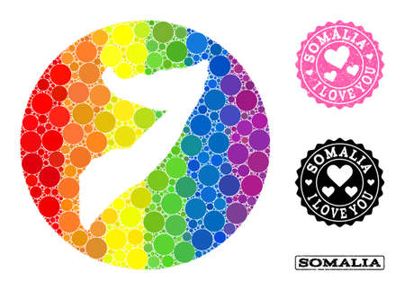 Vector mosaic LGBT map of Somalia with round blots, and Love watermark seal. Subtraction round map of Somalia collage designed with circles in variable sizes, and spectrum bright color tints.