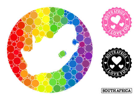 Vector mosaic LGBT map of South African Republic with spheric blots, and Love watermark seal. Hole round map of South African Republic collage designed with circles in variable sizes,