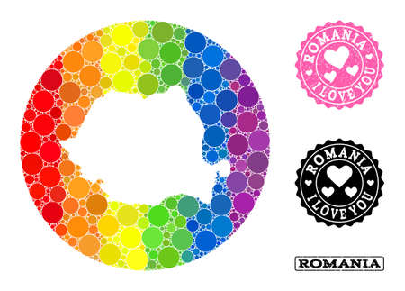 Vector mosaic LGBT map of Romania from round elements, and Love scratched stamp. Hole circle map of Romania collage composed with circles in variable sizes, and spectrum multicolored color tones.