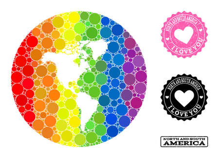 Vector mosaic LGBT map of South and North America with spheric elements, and Love scratched stamp. Hole circle map of South and North America collage designed with circles in variable sizes,