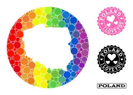 Vector mosaic LGBT map of Poland from circle dots, and Love scratched seal. Stencil circle map of Poland collage designed with circles in various sizes, and rainbow multicolored shades. 写真素材 - 148709506