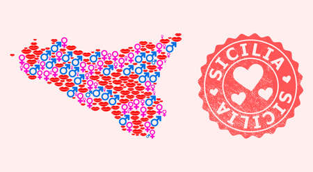 Vector collage of love smile map of Sicilia Island and red grunge seal stamp with heart. Map of Sicilia Island collage created with smiles, male and female symbols.