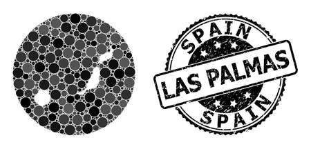 Vector mosaic Las Palmas Province map with circle spots, and gray rubber stamp. Subtraction circle Las Palmas Province map collage created with circles in various sizes, and dark gray color hues. Ilustración de vector