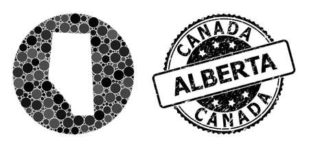 Vector mosaic map of Alberta Province with spheric dots, and gray watermark stamp. Hole circle map of Alberta Province collage designed with circles in variable sizes, and dark gray color tones.