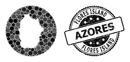 Vector mosaic map of Azores - Flores Island with round spots, and gray grunge seal stamp. Stencil circle map of Azores - Flores Island collage created with circles in various sizes,