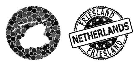 Vector mosaic map of Friesland Province with round items, and gray rubber seal. Stencil round map of Friesland Province collage formed with circles in various sizes, and dark gray color tinges.