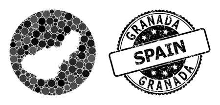 Vector mosaic map of Granada Province with circle elements, and grey grunge seal. Hole circle map of Granada Province collage formed with circles in various sizes, and dark gray color tints.  イラスト・ベクター素材