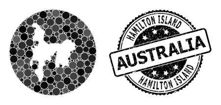 Vector mosaic map of Hamilton Island from round elements, and gray rubber stamp. Stencil round map of Hamilton Island collage formed with circles in different sizes, and dark gray color tones.