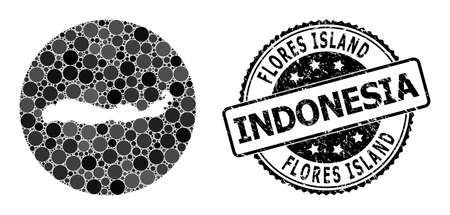 Vector mosaic map of Indonesia - Flores Island with round dots, and grey grunge seal. Hole circle map of Indonesia - Flores Island collage designed with circles in variable sizes, 向量圖像