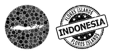 Vector mosaic map of Indonesia - Flores Islands with spheric dots, and grey watermark seal. Subtraction round map of Indonesia - Flores Islands collage designed with circles in different sizes,