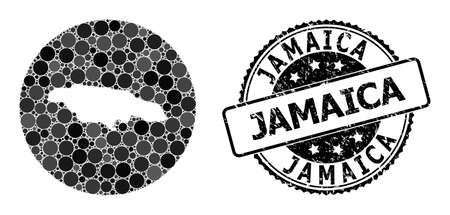 Vector mosaic map of Jamaica with spheric blots, and gray rubber seal. Subtraction round map of Jamaica collage composed with circles in variable sizes, and dark gray color tones.
