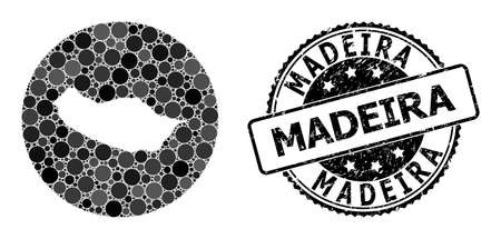 Vector mosaic map of Madeira Island of round blots, and grey grunge seal stamp. Stencil round map of Madeira Island collage formed with circles in different sizes, and dark grey color tinges. Vector Illustration