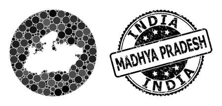 Vector mosaic map of Madhya Pradesh State from circle spots, and grey rubber stamp. Subtraction circle map of Madhya Pradesh State collage created with circles in different sizes,