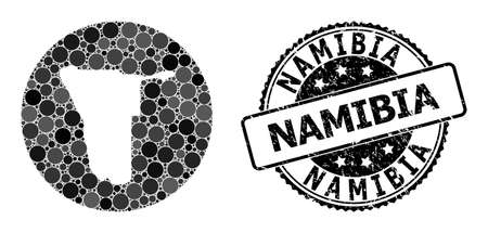 Vector mosaic map of Namibia with circle elements, and gray grunge seal stamp. Subtraction round map of Namibia collage composed with circles in different sizes, and dark gray color tinges.