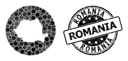 Vector mosaic map of Romania with round dots, and grey scratched seal. Subtraction round map of Romania collage formed with circles in various sizes, and dark grey shades. Illusztráció