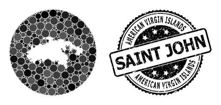 Vector mosaic map of Saint John Island with round items, and grey rubber stamp. Stencil round map of Saint John Island collage designed with circles in variable sizes, and dark grey color tints.