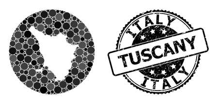 Vector mosaic map of Tuscany region with circle blots, and gray rubber seal stamp. Hole circle map of Tuscany region collage created with circles in different sizes, and dark gray color tinges.