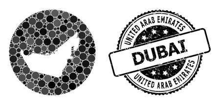 Vector mosaic map of United Arab Emirates with circle blots, and grey scratched seal stamp. Stencil round map of United Arab Emirates collage composed with circles in variable sizes,