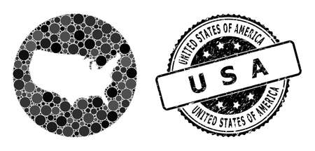 Vector mosaic map of USA with spheric dots, and grey watermark seal stamp. Subtraction round map of USA collage designed with circles in different sizes, and dark gray shades. 矢量图像