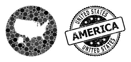 Vector mosaic map of USA and Alaska from spheric items, and gray rubber stamp. Subtraction round map of USA and Alaska collage composed with circles in various sizes, and dark gray color tones.