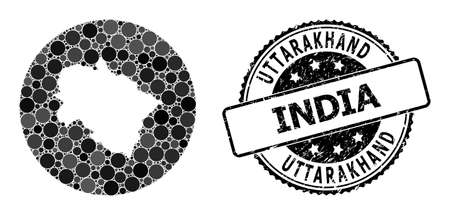 Vector mosaic map of Uttarakhand State of circle dots, and grey watermark seal. Stencil round map of Uttarakhand State collage composed with circles in various sizes, and dark grey color tones. 矢量图像