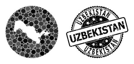 Vector mosaic map of Uzbekistan with round items, and gray rubber seal stamp. Hole round map of Uzbekistan collage created with circles in various sizes, and dark grey color hues.