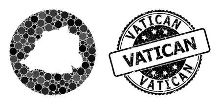 Vector mosaic map of Vatican of circle spots, and gray scratched seal. Stencil circle map of Vatican collage created with circles in variable sizes, and dark gray color hues.