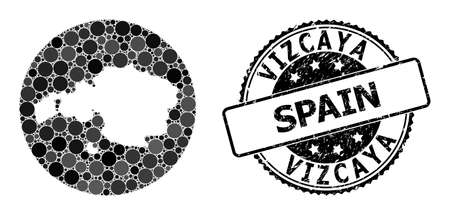 Vector mosaic map of Vizcaya Province with circle items, and grey rubber stamp. Subtraction circle map of Vizcaya Province collage composed with circles in different sizes, and dark gray color tints.