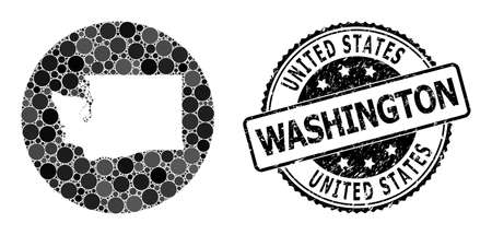 Vector mosaic map of Washington State with round dots, and gray rubber stamp. Hole round map of Washington State collage created with circles in various sizes, and dark grey color tones.