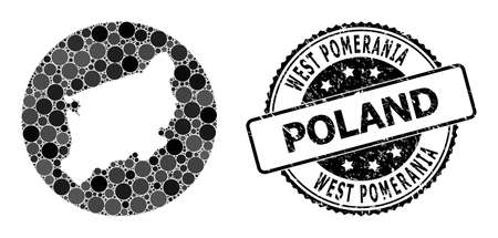 Vector mosaic map of West Pomerania Province with round dots, and gray watermark seal stamp. Hole round map of West Pomerania Province collage composed with circles in variable sizes,