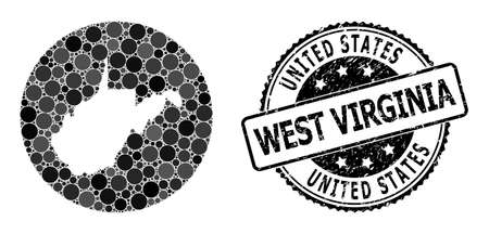 Vector mosaic map of West Virginia State of round items, and gray grunge seal. Hole round map of West Virginia State collage designed with circles in different sizes, and dark gray color hues. 矢量图像