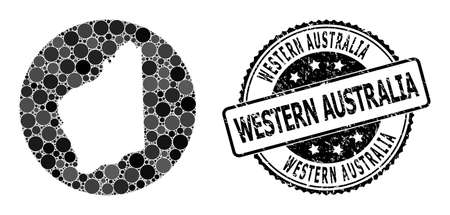 Vector mosaic map of Western Australia with round elements, and gray grunge seal. Subtraction circle map of Western Australia collage formed with circles in different sizes,
