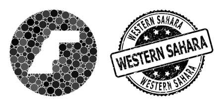 Vector mosaic map of Western Sahara with round dots, and grey grunge stamp. Stencil round map of Western Sahara collage designed with circles in various sizes, and dark grey color hues. 矢量图像