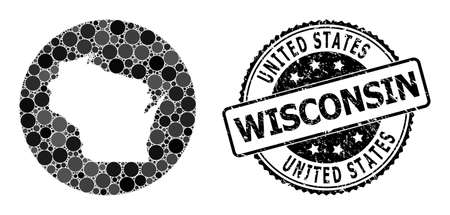 Vector mosaic map of Wisconsin State with round items, and grey watermark stamp. Stencil circle map of Wisconsin State collage formed with circles in various sizes, and dark grey color tones. 矢量图像