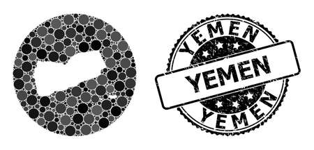 Vector mosaic map of Yemen from round elements, and grey watermark seal. Subtraction circle map of Yemen collage created with circles in various sizes, and dark grey color hues. 矢量图像