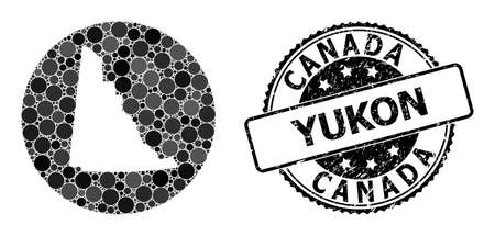 Vector mosaic map of Yukon Province with round blots, and gray scratched seal stamp. Stencil circle map of Yukon Province collage designed with circles in variable sizes, and dark gray color tints.