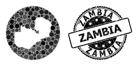 Vector mosaic map of Zambia with spheric elements, and grey grunge seal. Stencil circle map of Zambia collage formed with circles in different sizes, and dark gray color hues.