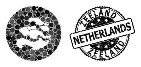 Vector mosaic map of Zeeland Province with round dots, and grey watermark seal stamp. Subtraction round map of Zeeland Province collage designed with circles in variable sizes,