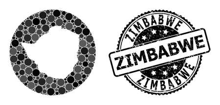 Vector mosaic map of Zimbabwe with round elements, and gray grunge seal stamp. Hole round map of Zimbabwe collage formed with circles in variable sizes, and dark gray color tints. 矢量图像