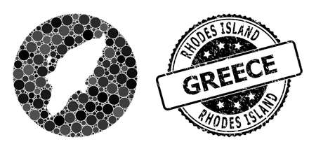 Vector mosaic Rhodes Island map from round items, and gray scratched stamp. Stencil round Rhodes Island map collage created with circles in various sizes, and dark gray color hues. 矢量图像