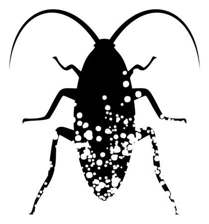 Damaged cockroach icon on a white background. Isolated damaged cockroach symbol with flat style. 矢量图像
