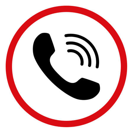 Telephone call icon on a white background. Isolated telephone call symbol with flat style.