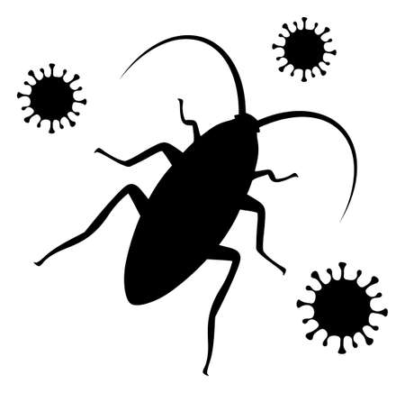 Cockroach infection icon on a white background. Isolated cockroach infection symbol with flat style.