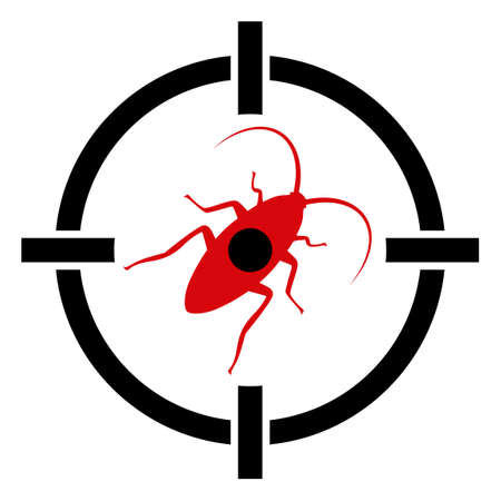 Target cockroach icon on a white background. Isolated target cockroach symbol with flat style. Banco de Imagens
