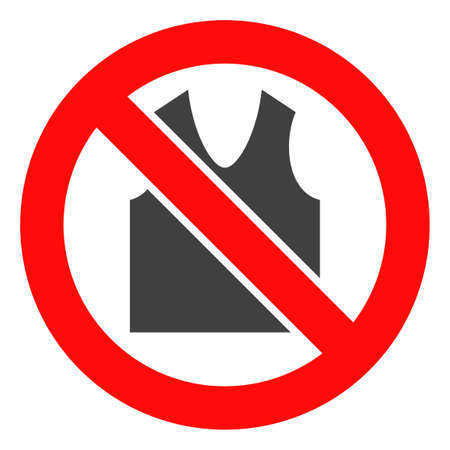 Forbidden open clothes icon on a white background. Isolated forbidden open clothes symbol with flat style. 写真素材