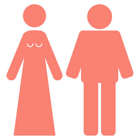 Married Groom And Bribe vector icon symbol. Flat pictogram designed with salmon and isolated on a white background.