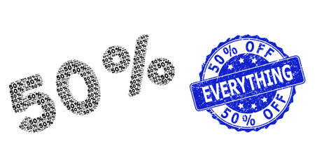 50% Off Everything unclean round stamp seal and vector recursive composition 50 percents. Blue stamp seal contains 50% Off Everything title inside round shape.