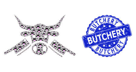 Butchery scratched round watermark and vector recursive mosaic butchery. Blue seal includes Butchery caption inside round shape. Vector mosaic is organized with recursive butchery icons.
