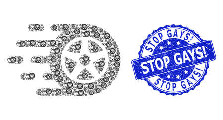 Stop Gays! corroded round stamp seal and vector recursion collage car wheel. Blue stamp seal has Stop Gays! tag inside round shape. Vector mosaic is composed of scattered car wheel pictograms.